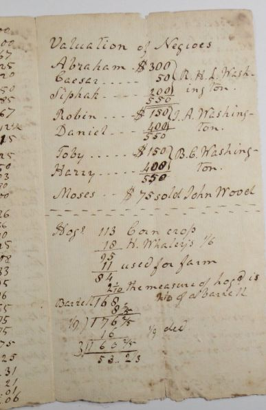 """Valuation of Negroes"" - part of my family archive. My 3x great-grandfather and his brothers divide ""property"" inherited from their father, Corbin Washington, George Washington's nephew. At this time there were more than 130 people enslaved by the family."