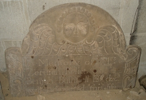 Gravestone of Zerviah Leffingwell Bushnell (1686-1770), daughter of Ensign Thomas Leffingwell and wife of Benajah Bushnell of Norwich.